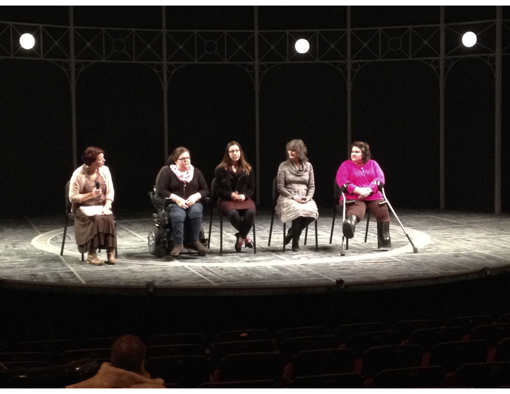 Five women on a stage taking questions from the audience and the moderator about The Elephant Man