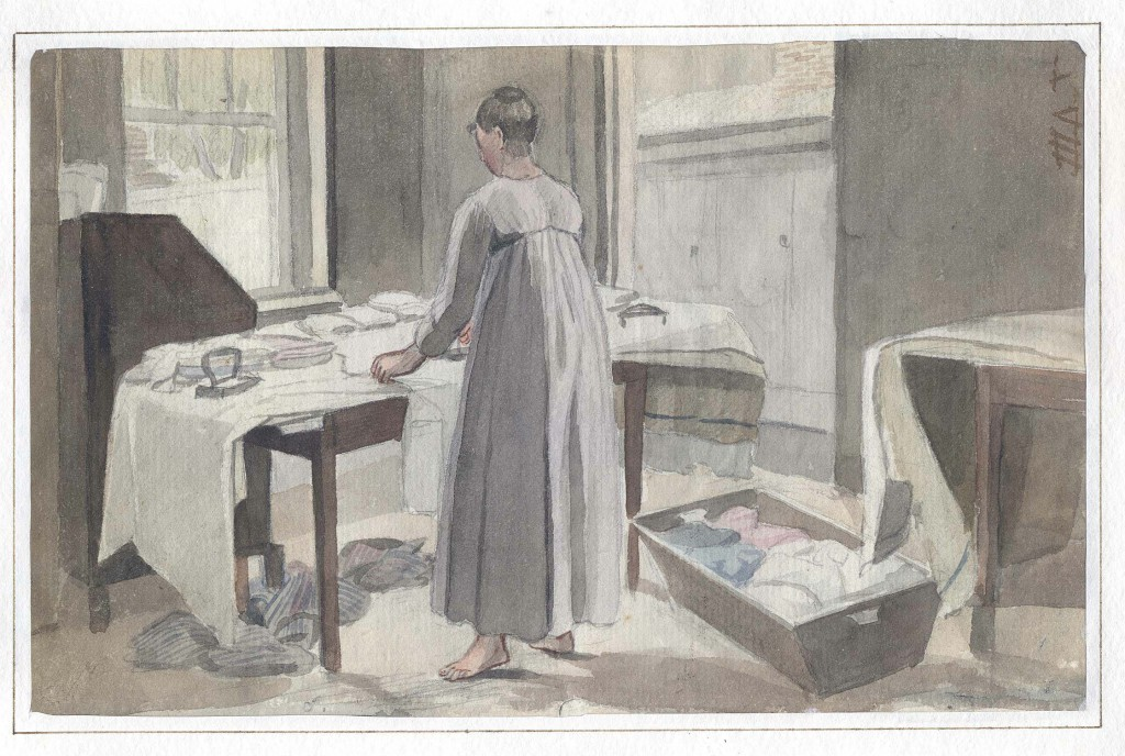 Krimmel, Woman pressing and folding laundry, Downs Collection
